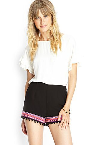 Embroidered Trim Woven Shorts // Forever21