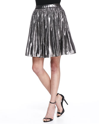Lizzie Metallic Pleated Full Skirt, Silver // Cusp