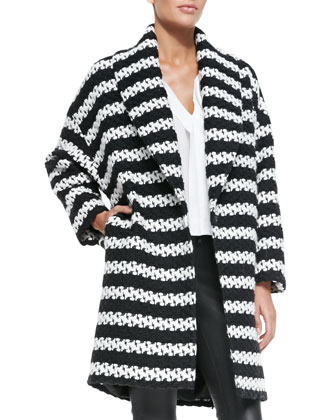 Ralter Striped Tweed Oversized Coat // Cusp