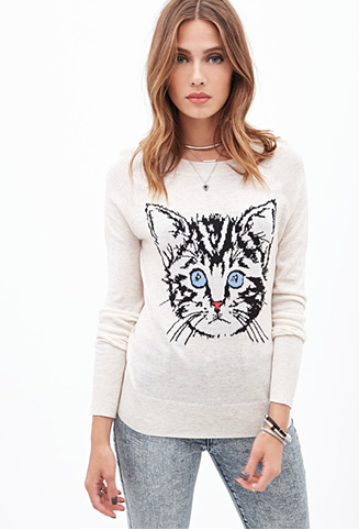 Kitten Graphic Sweater // Forever21